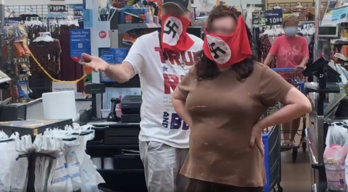 Walmart bans couple wearing swastika on their face coverings