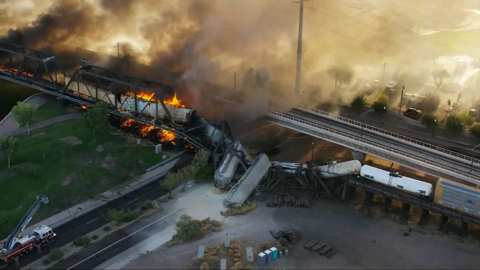 Train holding hazardous material derails, catches fire in Arizona