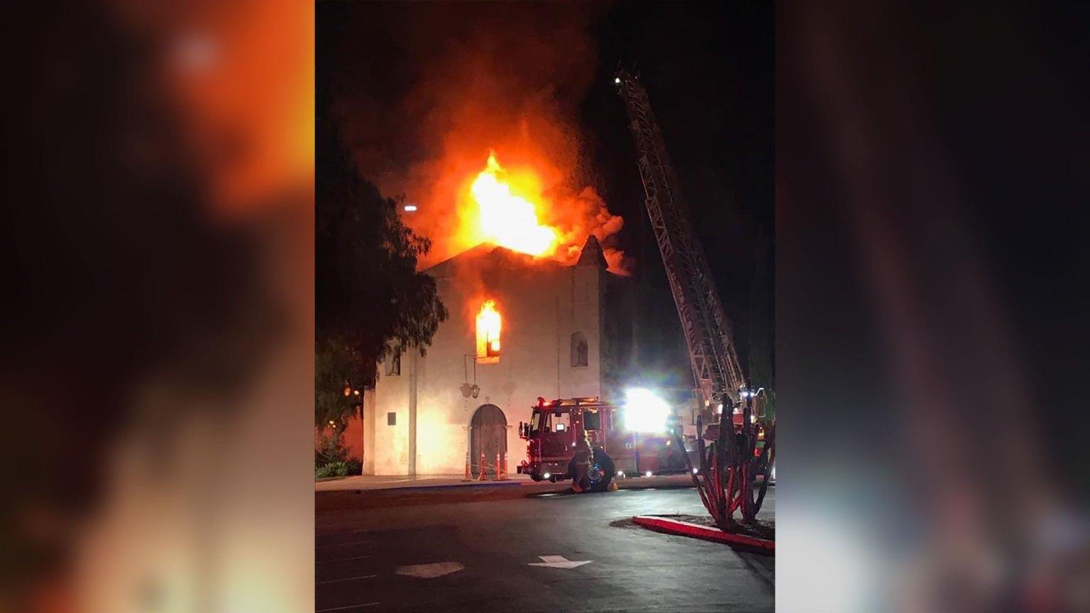 Massive fire destroys 249-year-old California church