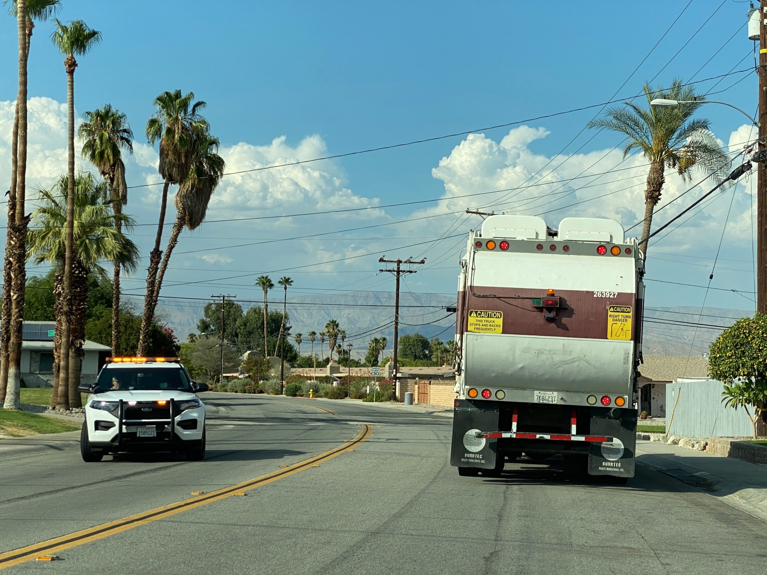 Trash Truck Crashes into Power lines causing Outage