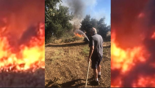 Vietnam Vet Tries to Protect His Property with Garden Hose
