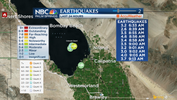 Cluster of earthquakes strike in the Salton Sea area