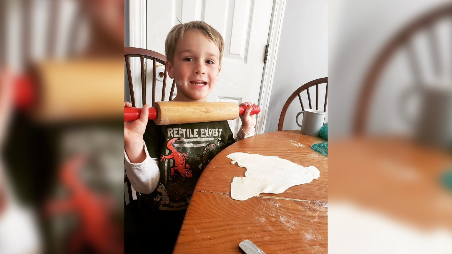 8-year-old boy mowing lawns for first responders and single moms and feeding the hungry