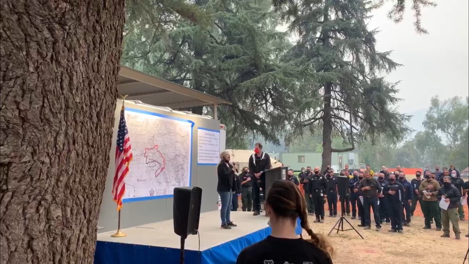 First Responders Working on the El Dorado Fire Pause to Honor the Heroes of 9-11