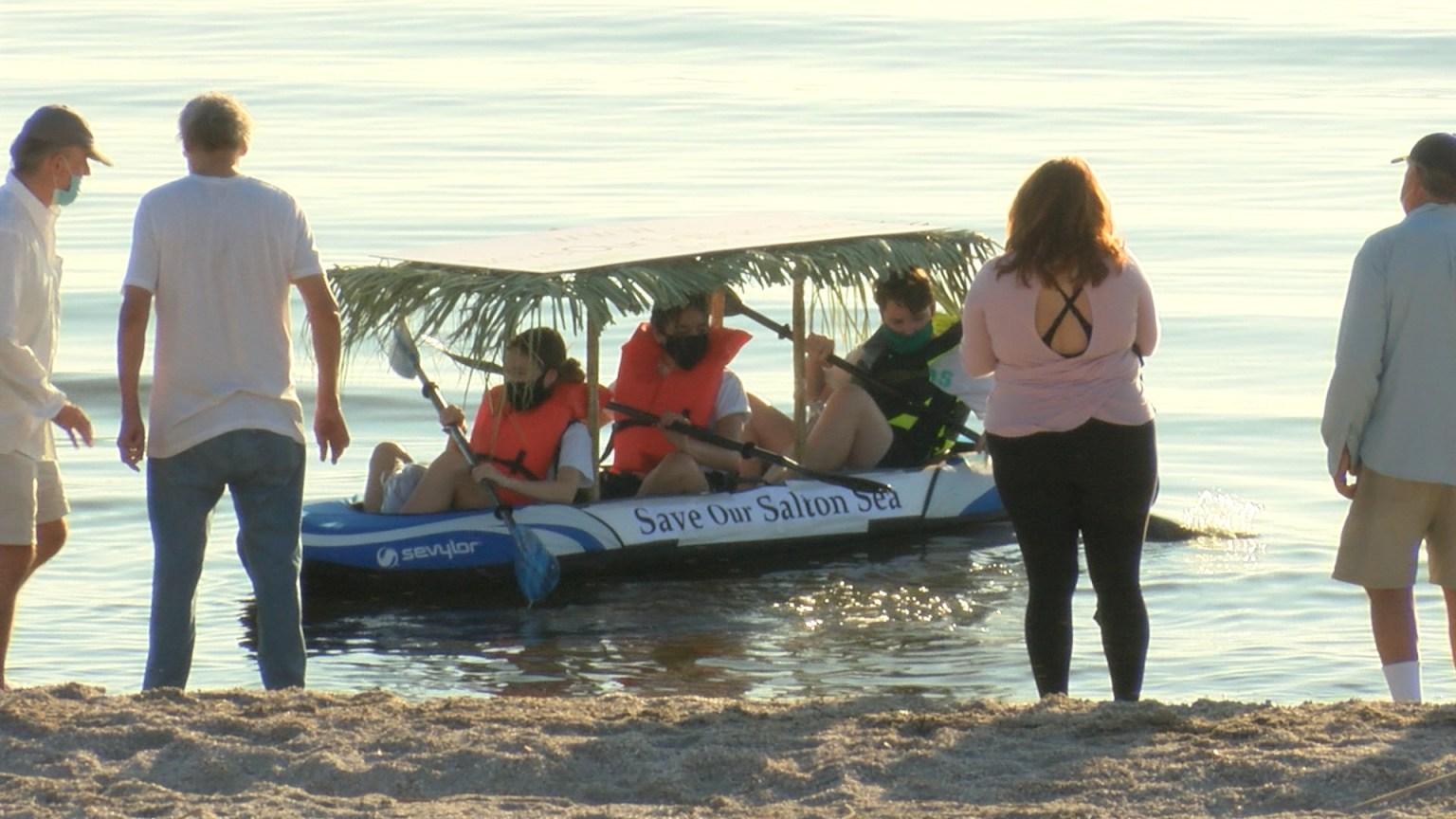 Students Kayak Across The Salton Sea For A Purpose