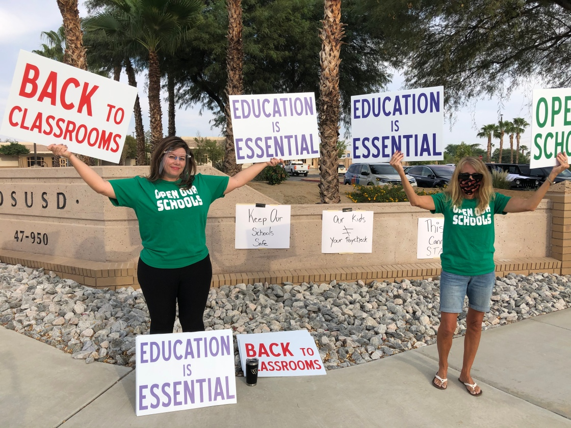 Parents rally at DSUSD building, districts plan for remainder of school year