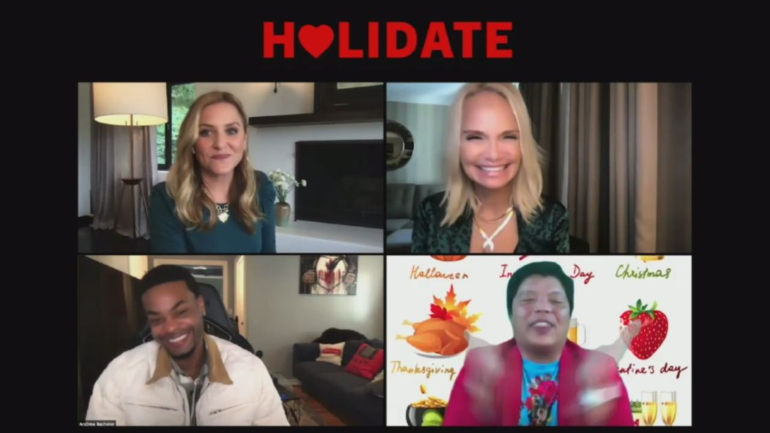 """Holidate"" Interview with Kristin Chenoweth, Jessica Capshaw, Andrew Bachelor"