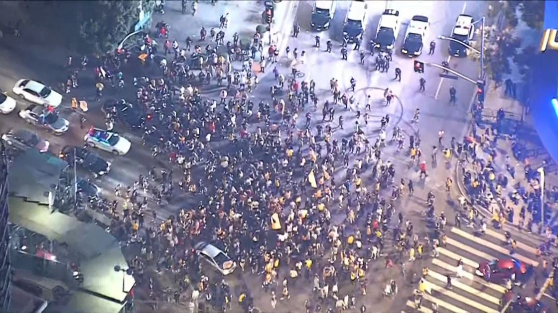 Fan Celebration of Lakers Victory near Staples Center Prompts Police Response