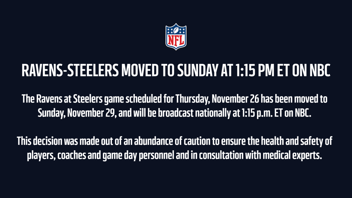 Ravens-Steelers Thanksgiving matchup on NBC postponed due to Covid-19 cases