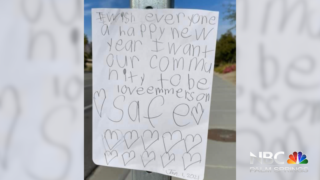 NBC Palm Springs Connects with Child who Left Hopeful New Year Message on La Quinta Street Sign
