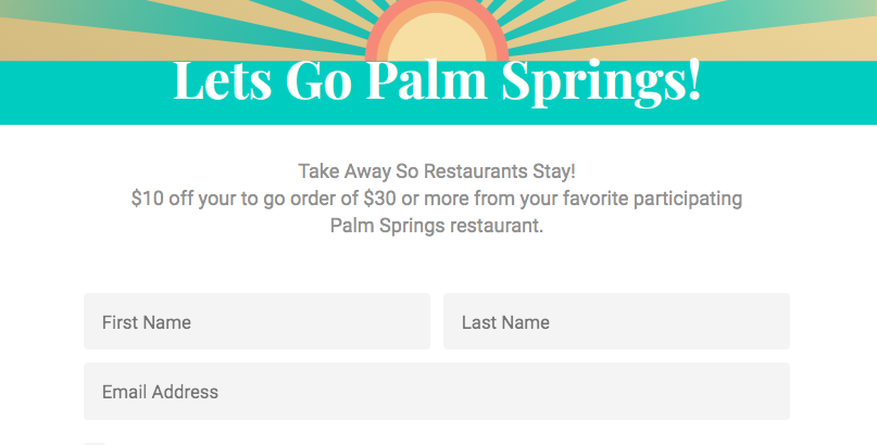Palm Springs Offers $10 Coupon For Use at Participating Restaurants