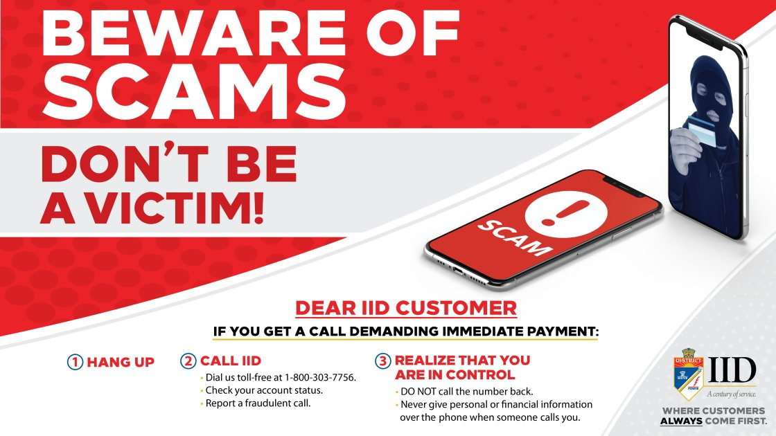 IID warns customers of ongoing scams