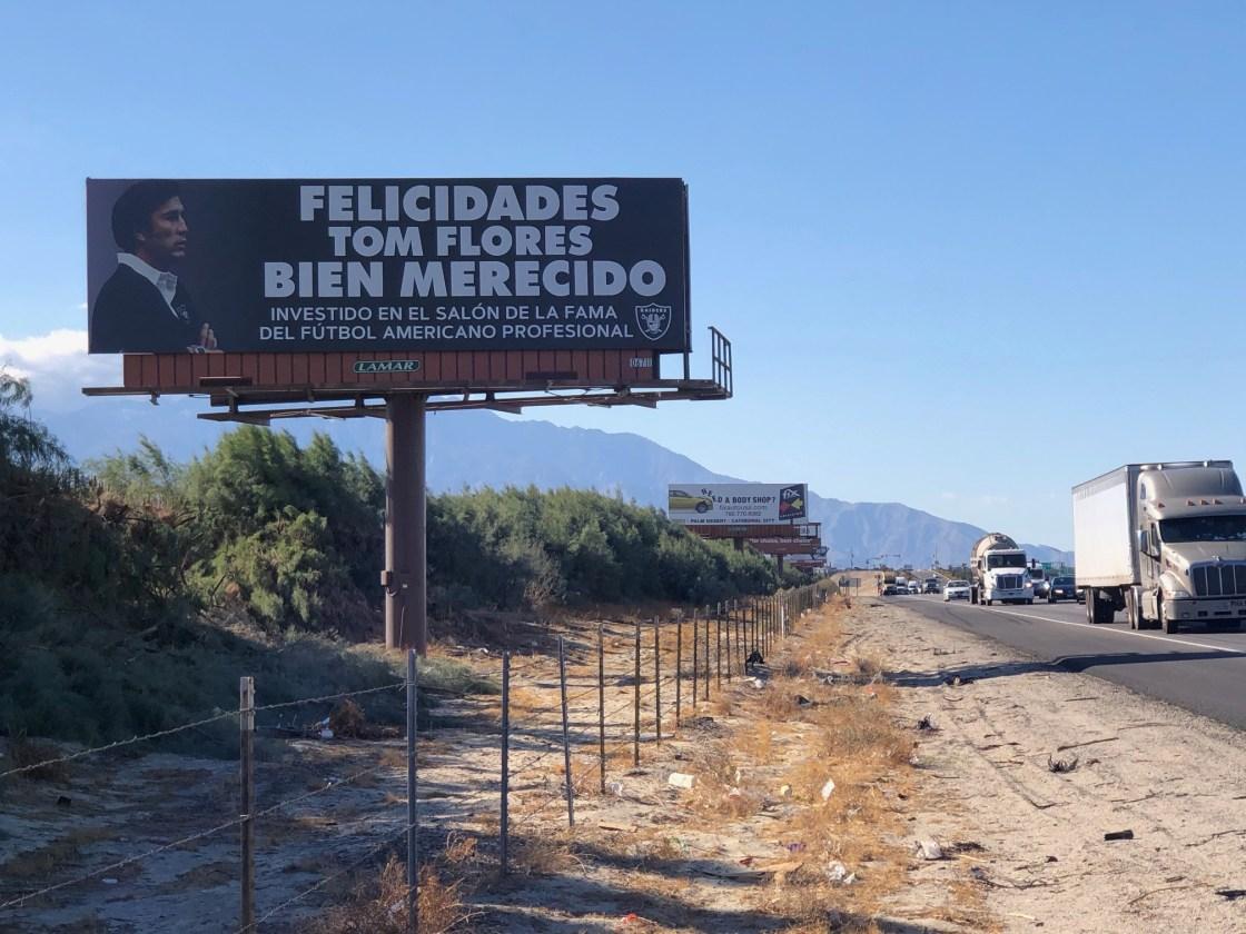 Coachella Valley billboard congratulates Tom Flores