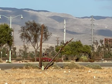 Update: Gusty Winds Knock Out Electricity, Topple Power Poles in The Coachella Valley