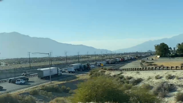 Pedestrian struck and killed by trash truck in Thousand Palms, westbound I-10 traffic stopped
