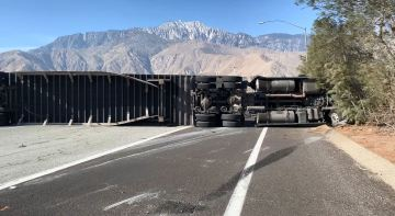 High winds overturn big rig on Highway 62, shuts down southbound lanes to I-10