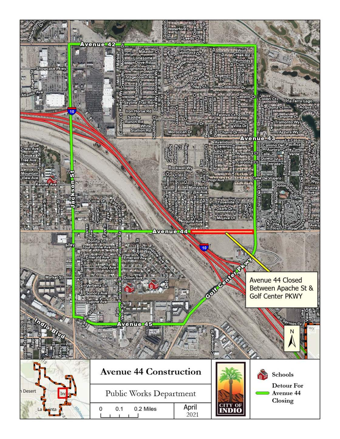 Avenue 44 temporarily closed for road improvements