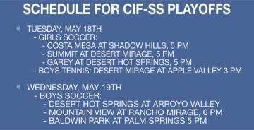 Schedule for CIF-SS Playoffs This Week (5/17-5/20)