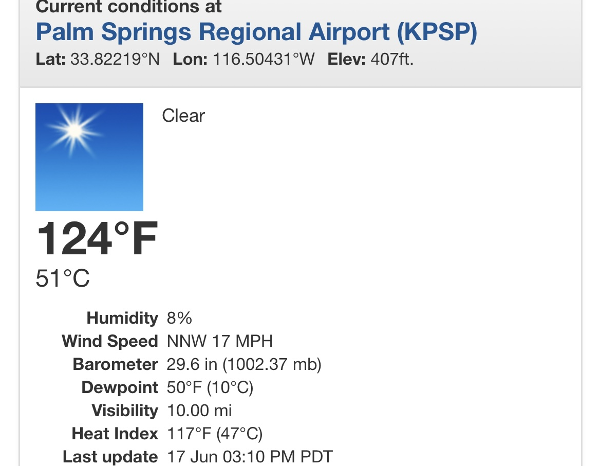 123 degrees! Palm Springs ties all time temperature record