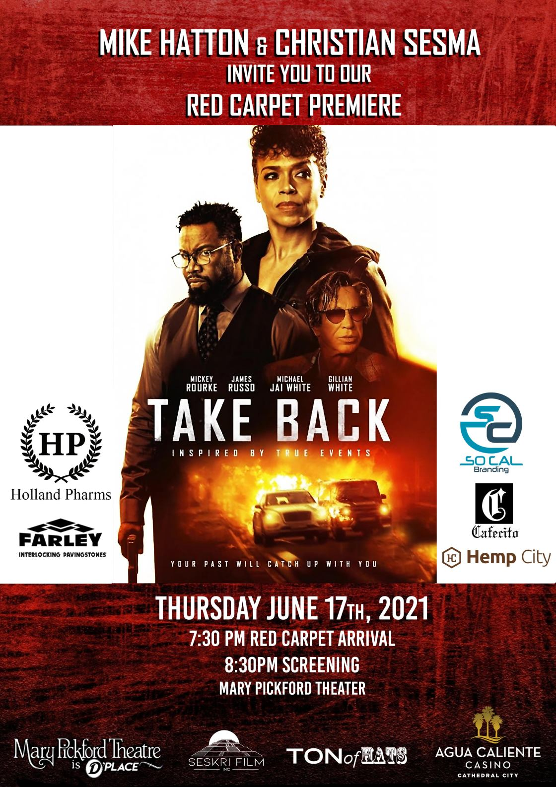 """You're Invited to """"Take Back"""" Desert Premiere Starring Mickey Rourke"""