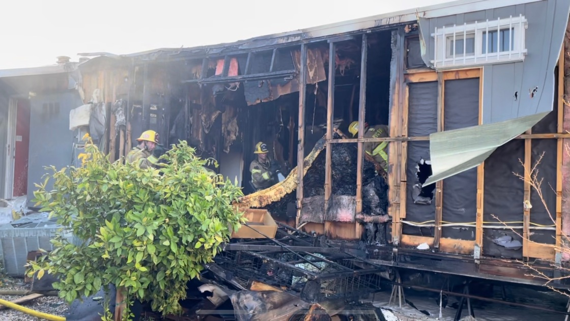 Fire Tears Through Mobile Home in Thousand Palms