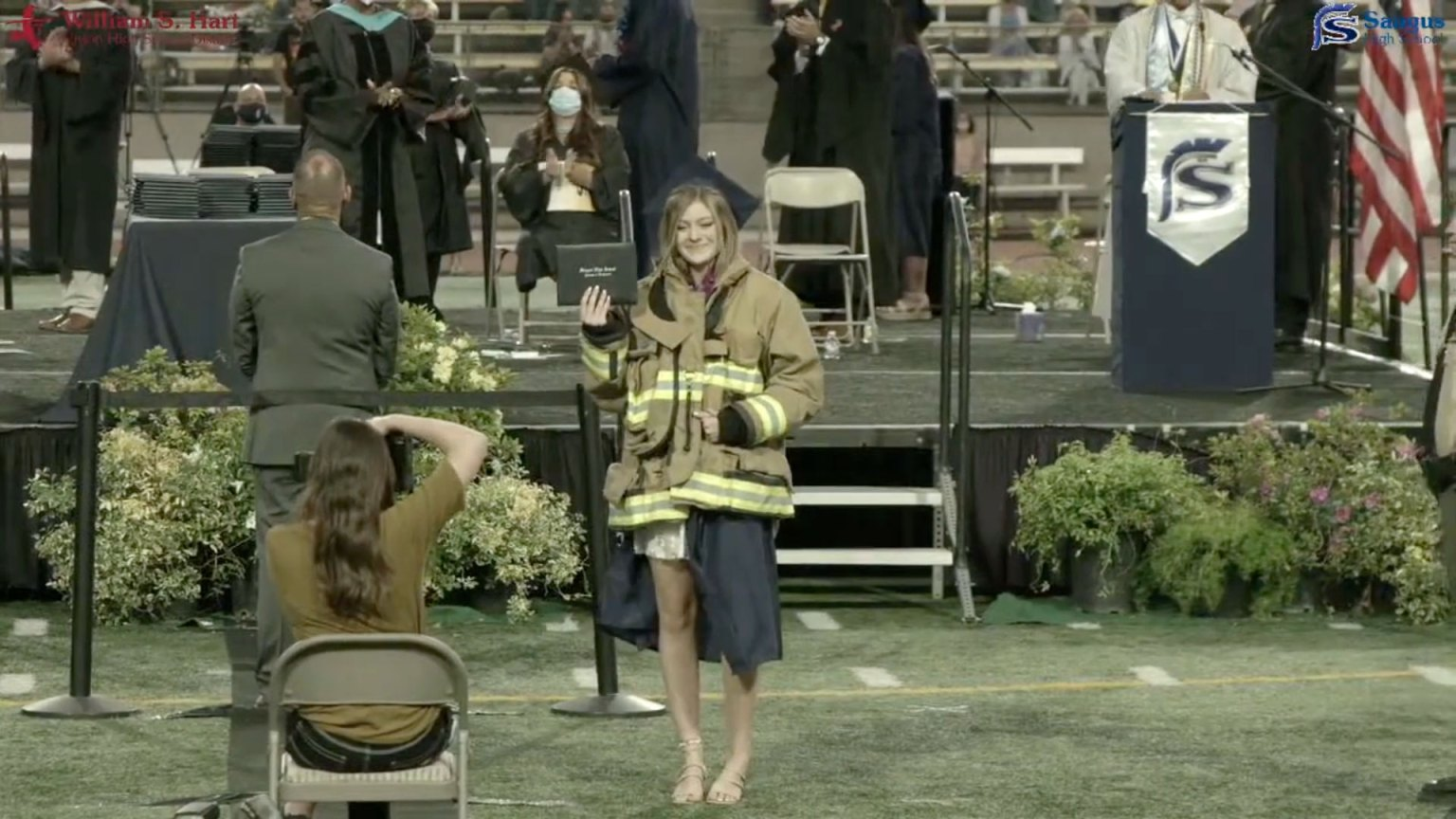 Daughter of late Agua Dulce firefighter wore fathers firefighter jacket during graduation