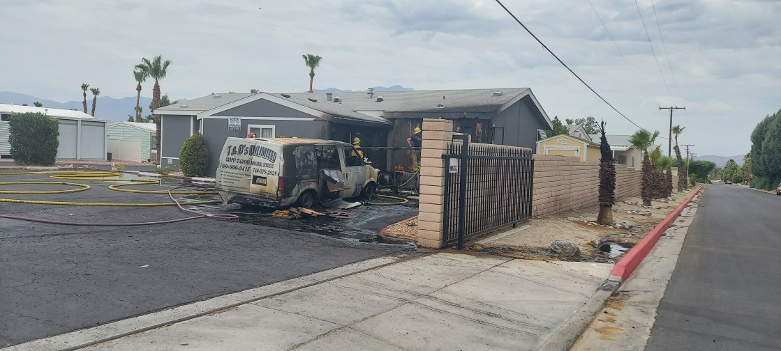 Vehicle fire in Desert Hot Springs spreads to nearby structure