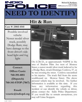 Police in Indio asking for community help identifying hit and run suspect