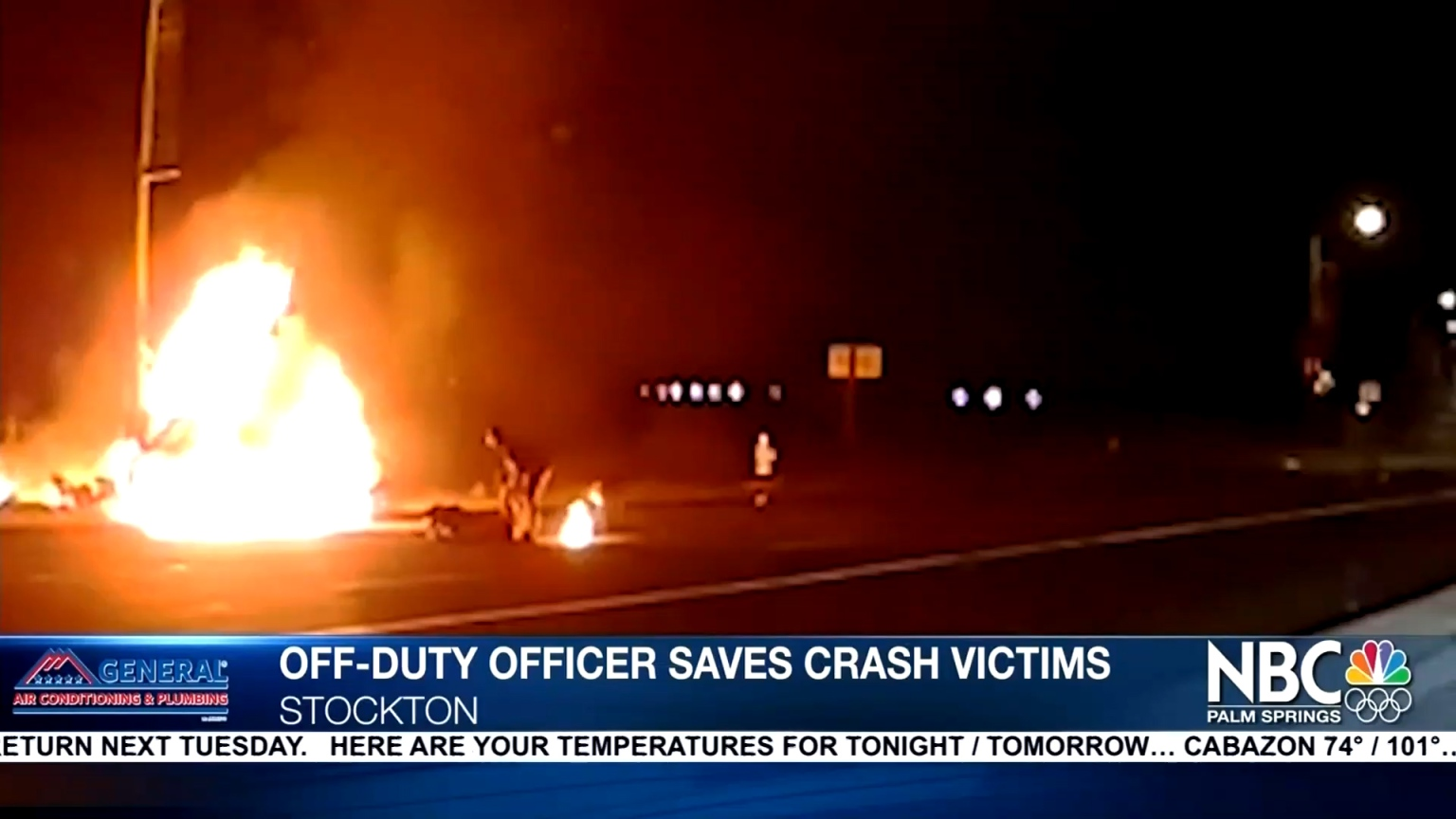 Heroic officer rushes into flames to save lives