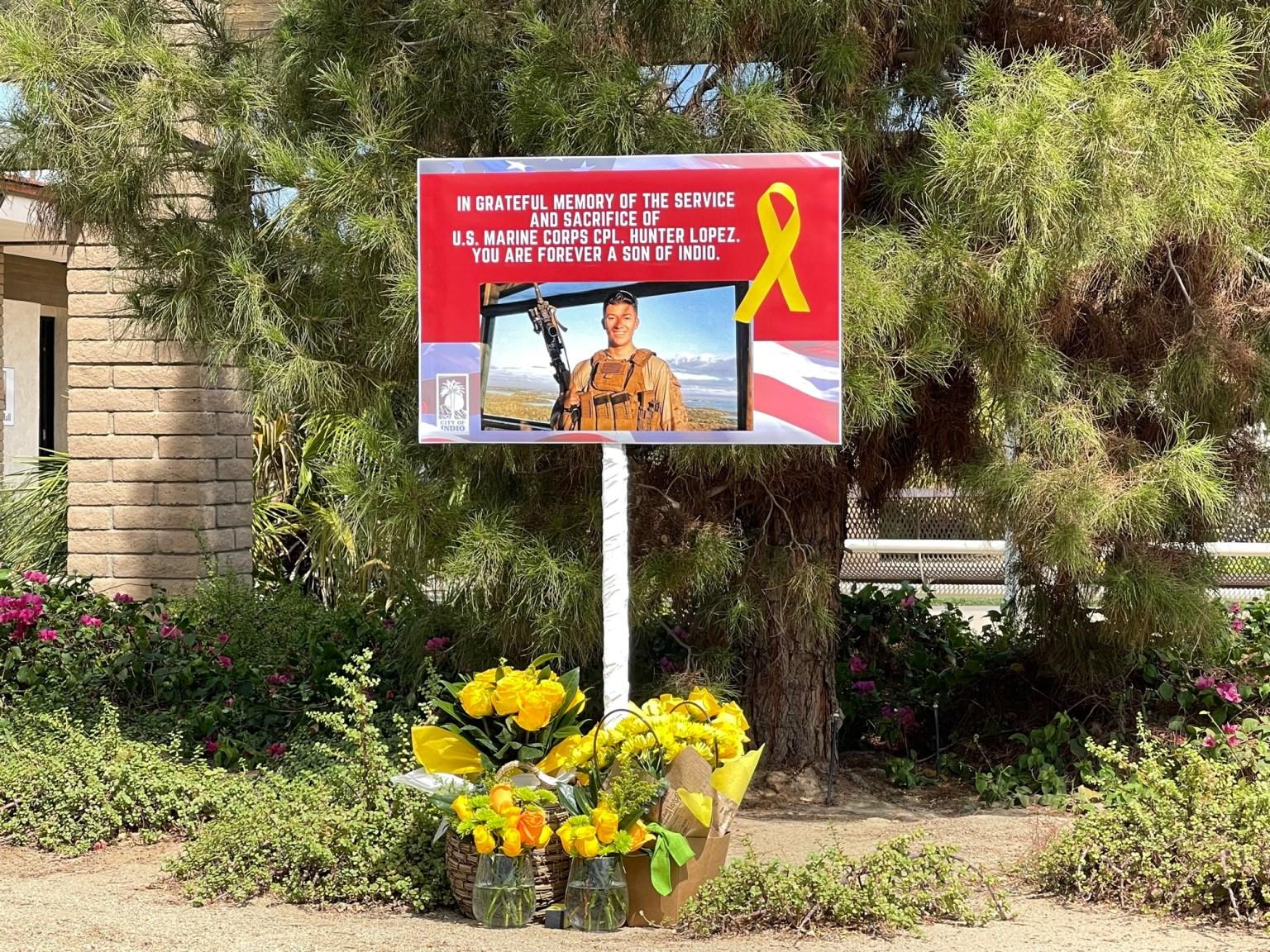 memorial honoring U.S. Marine Corps Cpl. Hunter Lopez