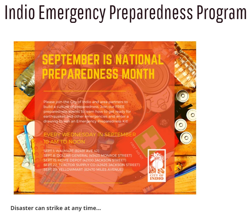 Indio to Host Series of Emergency Preparedness Events in September