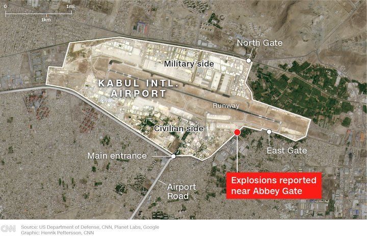 US troops, Afghans killed in suicide attacks outside Kabul airport