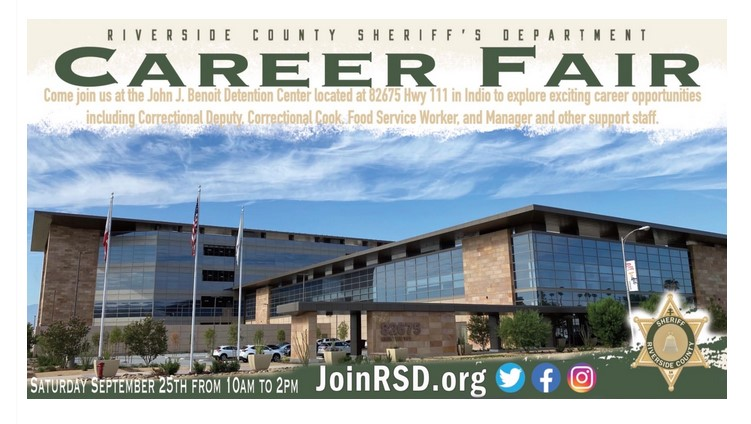 Riverside County Sheriff's Department To Host Job Fair In Indio