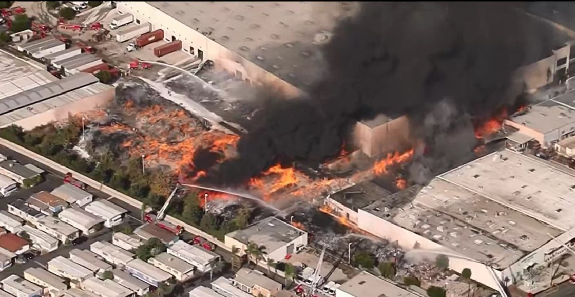 Fire Erupts at Commercial Building in Carson
