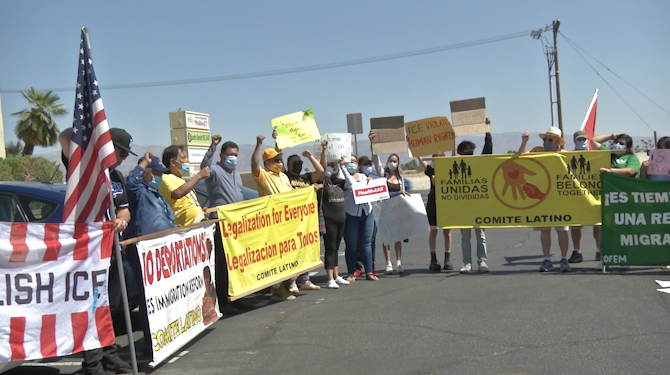 Community Members Rally For Immigration Reform in Palm Desert