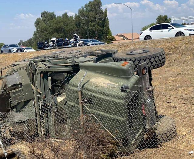 Military Transport Vehicle Overturns, Rolls Off Freeway in Menifee