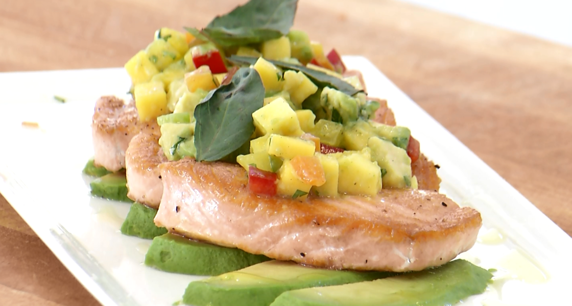 Cooking with Andalusia's Executive Chef Aaron Marshall: Pan-seared salmon over avocado with mango salsa