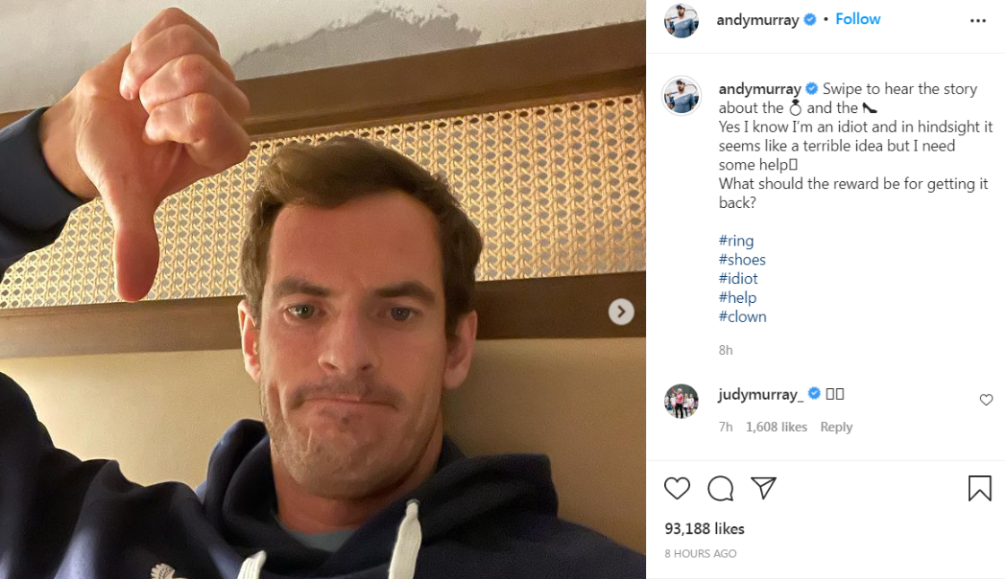 Andy Murray says wedding ring was stolen